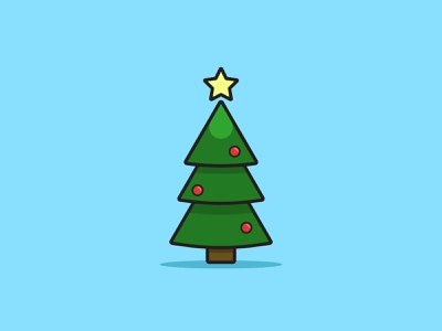 Christmas Tree art icon illustrator christmas tree minimal holiday christmas design vector illustration flat
