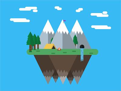 Island Getaway illustrator minimal vector illustration flat design