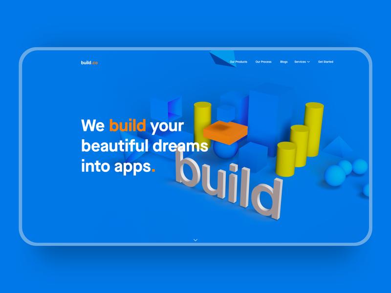 Build Apps build blue dimension websites web webdesign branding adobexd xd design website ui 2d 3d