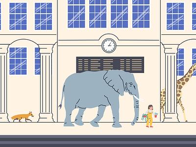 Train Station giraffe fox elephant animals figma illustrator face character design ui interface elearning design figmadesign flat illustration