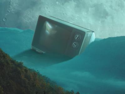 Floating old TV