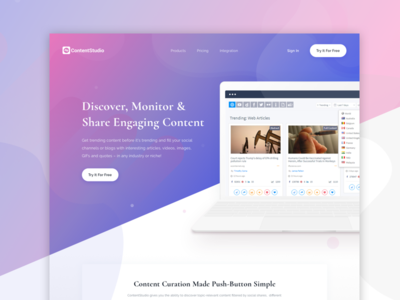 Landing page for a content management SaaS