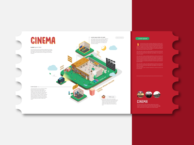 Illustration for an open air movie theater infographic cinema open air illustration