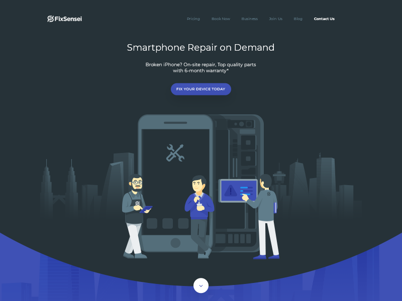 Ninja-inspired landing page with illustrations smartphone character design dark custom isometric landing page illustrations