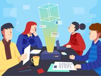 Digital Team Meeting Illustration