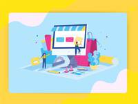 Bulding E-commerce Website Illustration