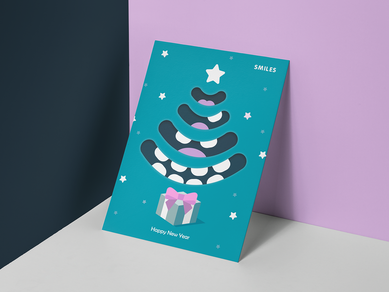 New Year Card for a Dentistry concept new year tree boxing day stomatology tooth teeth design card design new year 2018 new year card new year dentistry