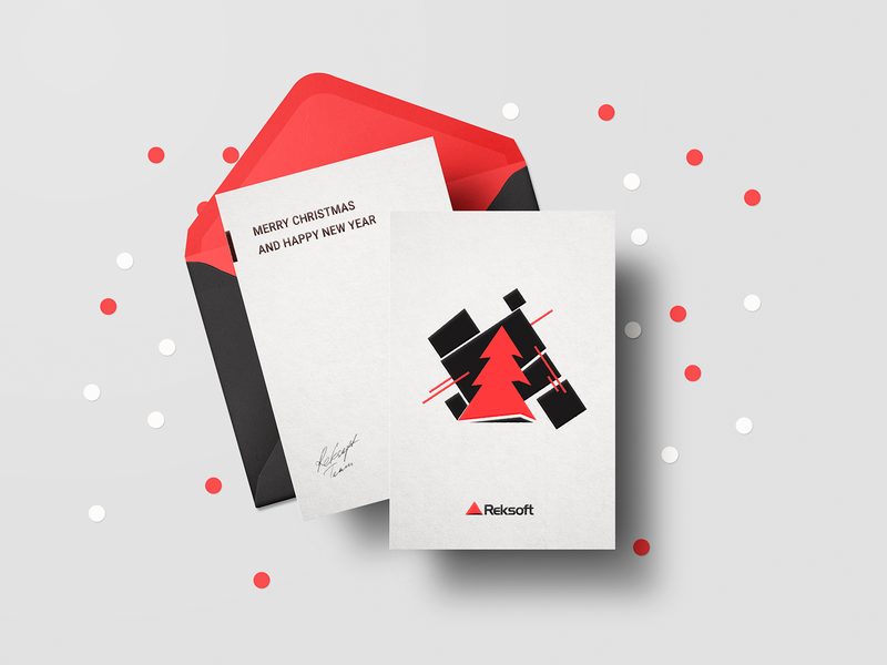 New Year Card, Reksoft avantgarde merry christmas merrychristmas concept design new year card new year 2018 new year modern card impressionism black red it reksoft