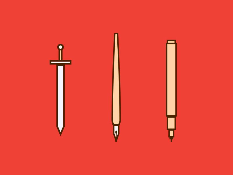 Weapons weapon sword pen ink nib marker illustration icon line