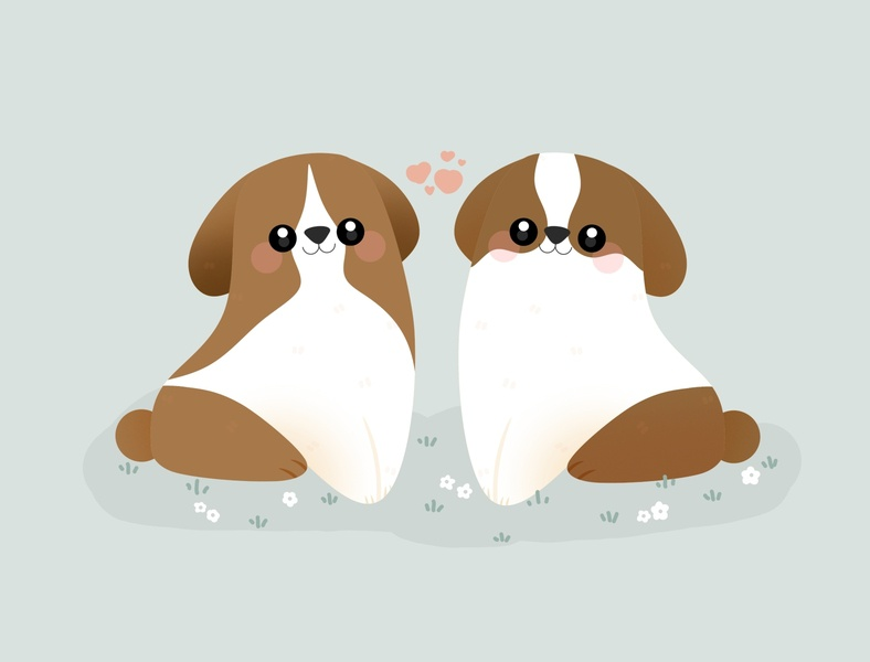 Cute happy puppies pastel kid minimal cute illustration design graphic dog illustration romantic lover valentinesday valentines valentine day cute animal cute art dogs