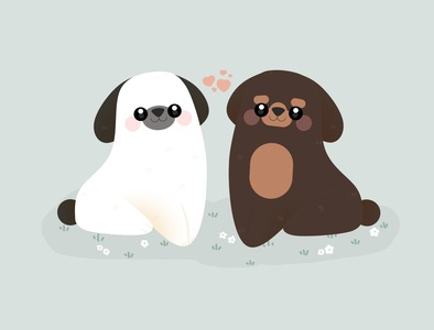 Dogs in love dog illustration happy romantic pastel kid valentine dogs minimal illustration design graphic cute