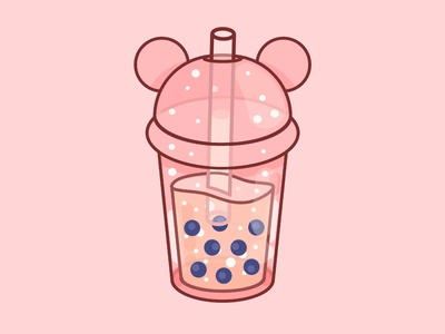 Bubbletea pastel kid boba minimal illustration design graphic branding food happy pink kawaii cute bubbletea bbt