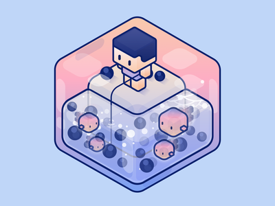 Boba happy kid minimal cute illustration design graphic bubbletea boba fishing cube world 3d perspective