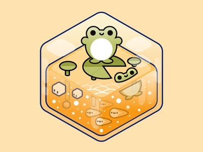 Frog pastel minimal illustration design graphic kid figma perspective block world ecosystem kawaii happy cute frogs frog