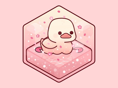 Duck nature ducks 3d art 3d isometric geometric perspective minimal flower pink happy kawaii cute sakura duck