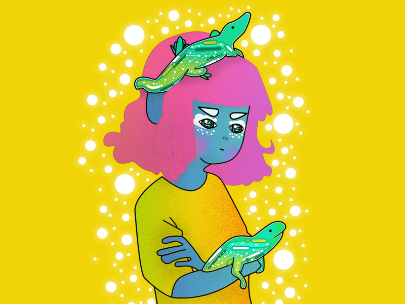 Lady woman water purple princess portrait pink people minimal animal lizard lady jelly illustration graphic fashion draw this in your style design cute cool beauty