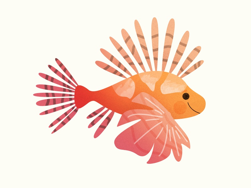 Lionfish happy mystical myth kid animal creature ocean sea illustration design graphic minimal cute 2019 mermay spring pastel lionfish