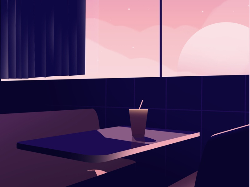 Empty cafe beauty people minimal abstract pastel lights peaceful introspection cafe illustration design graphic