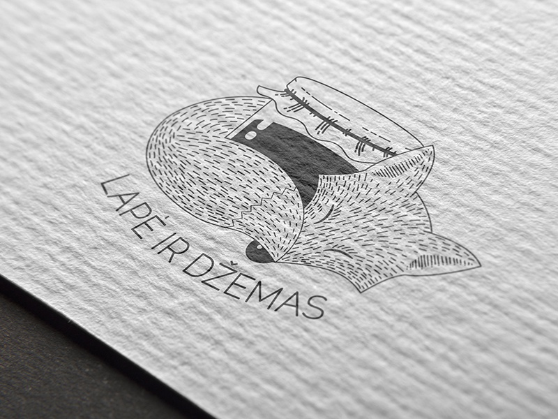 Fox and Jam logo stamp line art trademark jam fox branding brand logo