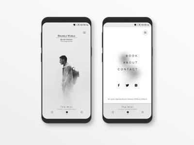 Brunels World mobile landing page photography typography minimalist design grey scale landing  page mobile ui