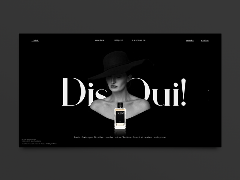 Dis Oui! Parfum from Paris landing page concept webpage monochrome calone lady black and white landing page web ux ui parfum perfume