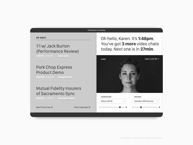 ChatCheck UI ui design schedule app calendar ui calendar video conference zoom video product design uiux app user interface ui