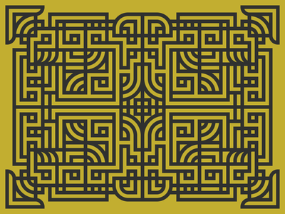 Secret Map of the Shaolin Temple thick lines wutang shaolin pattern illustration