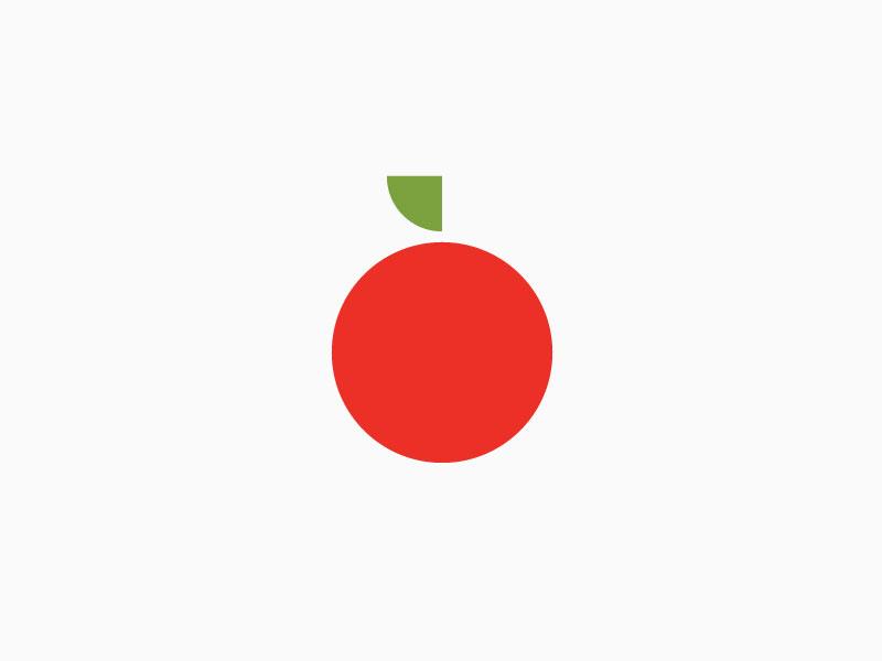 Delicious simple geometric apple icon