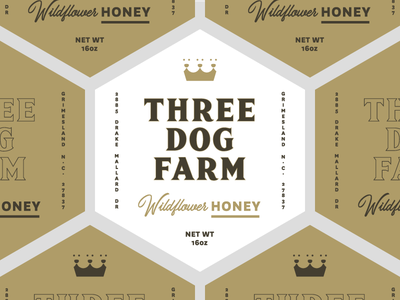 3DF Wildflower Honey Labels hexagon dogs dog crown farm local honey labels packaging design packaging