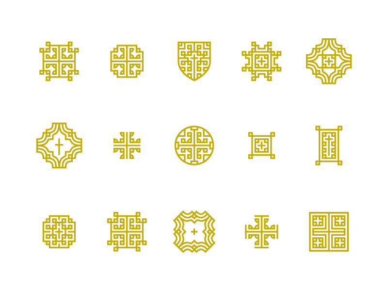 Unused Icons cross shield thin lines simple geometric illustration icon set icons icon
