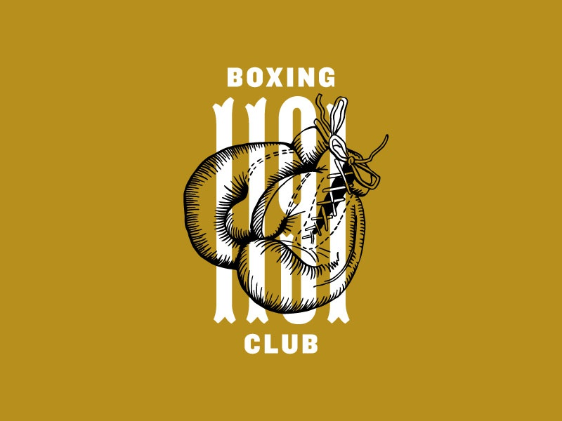 1191 Pend. St. S.C. U.S.A. antique tuscan gloves boxing knockout typography badges badge