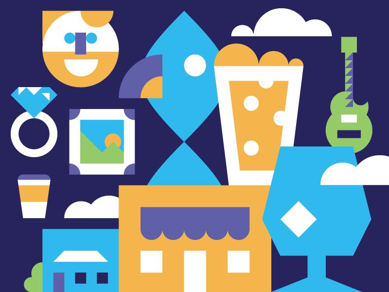 It Takes a Village identity branding brand icon set icon grid illustration