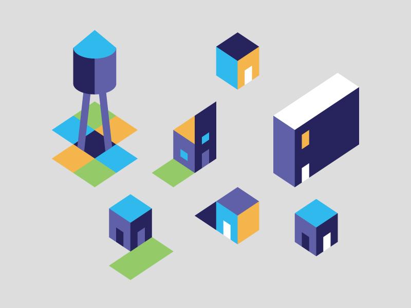 Welcome to the Neighborhood simple geometric isometric illustration icon