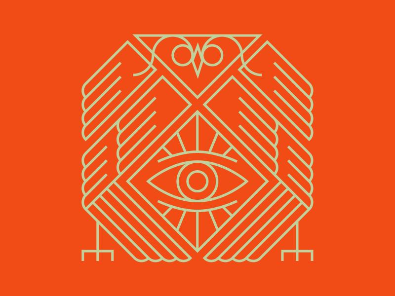 Some real Secret Society Shiz all seeing eye masonic owl thin lines grid illustration