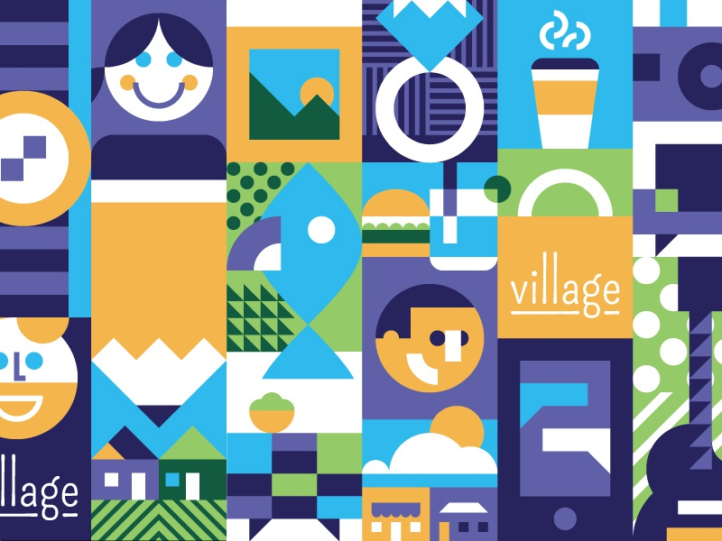 Shopping and Art and Food and Drink and Friends and Music and... placemaking neighborhood identity pattern language visual language icon set illustration identity icon grid branding brand
