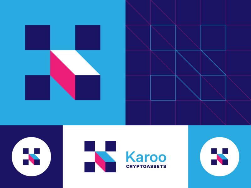 Karoooooooo simple geometric monogram k logo k crypto branding logo design logo grid icon illustration typography