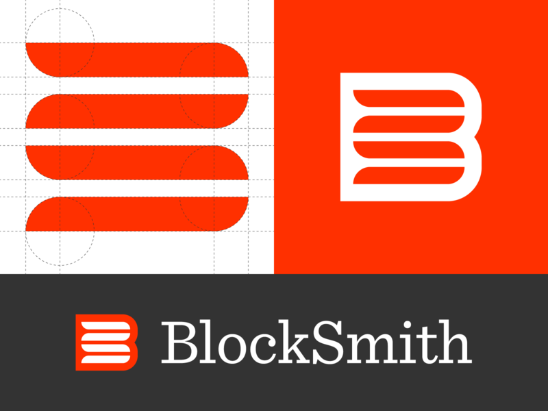 BlockSmith bs logo bs monogram b logo b bs simple monogram logodesign grid logo grid geometric branding