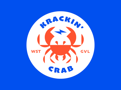 Lightning Crab lightning bolt restaurant brand idenity illustration crab badge logodesign