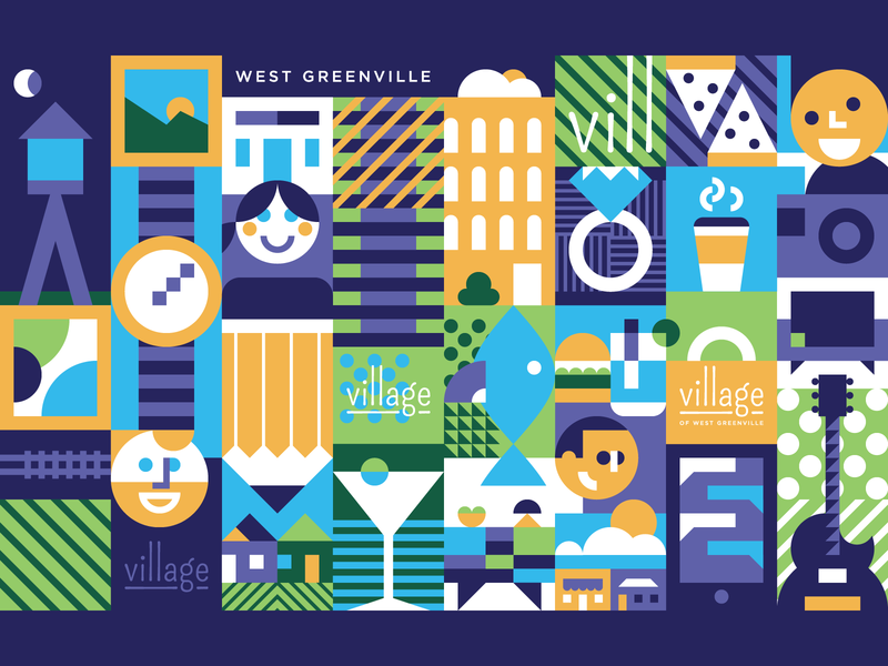 Welcome to the Vill grid illustration branding