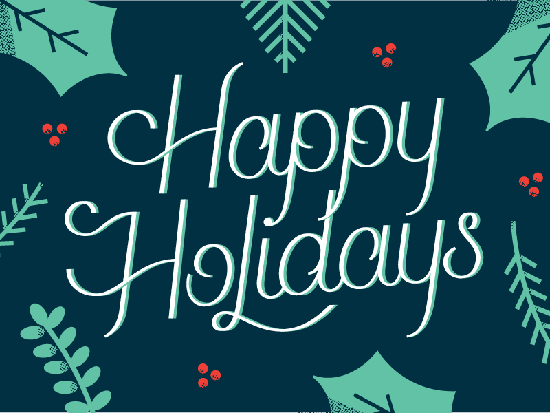 Holiday Card halftone script card postcard leaves christmas holiday lettering