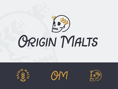 No Masters, No Kings | Rejected Concept rejected malting maltster beer logo logotype script lettering barley skull concept branding