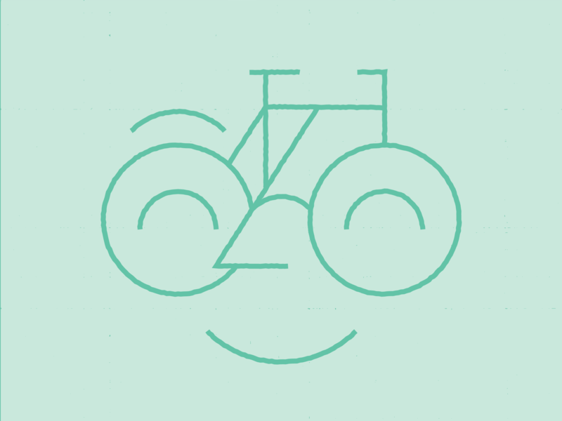 Happy Bike happy illustration glasses smile faces bicycle monoline