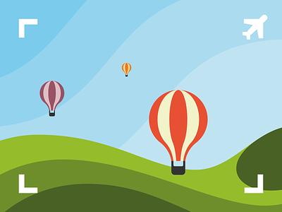 Viewfinder Identity Illustration viewfinder travel hills hotairballoon balloon dynamic logo logodesign design symbol identity flat mark illustration branding logo