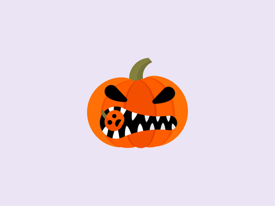 "Angry Pumpkin Logo ""like"" Illustration pumpkin halloween illustration flat icon symbol design mark logo"