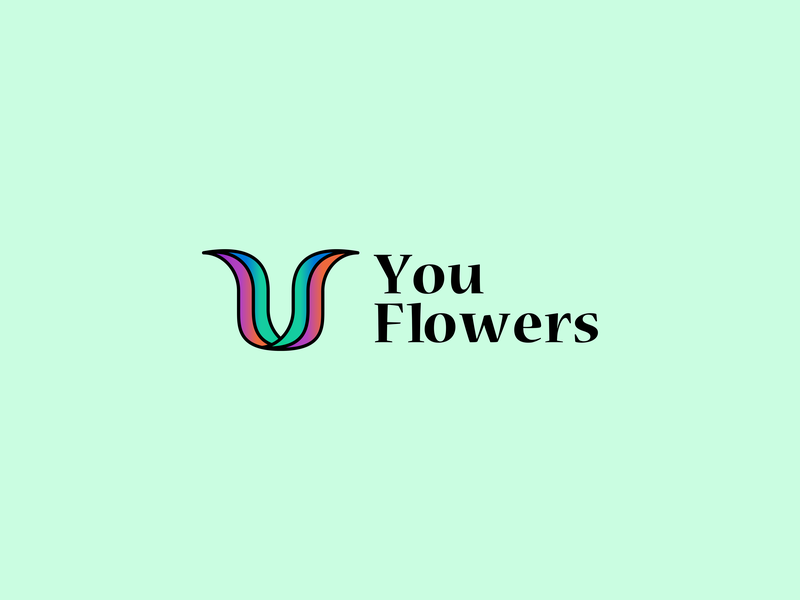 U Flowers vector typography illustration logo design