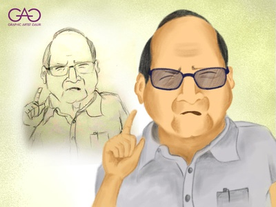 Sharad Pawar Caricature and sketch concept art creative sketchbook adobe photoshop digital painting digital caricature portrait sketch