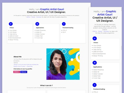 Personal Portfolio - Website Design by Graphic Artist Gauri html css ux ui portfolio personal website website design responsive website design css3 html5 adobe illustrator adobe photoshop