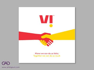 VI Ad Brand Design for Vodafone and Idea Cellular Collaboration advertising vectorart minimalism minimal design concept art creative adobe illustrator illustration