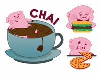 Piku Eating Habits - Lazy Pig Sticker Design