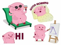 Piku - Lazy Pig Sticker Design